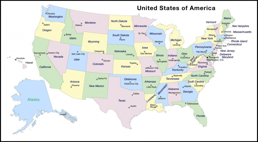 Map With State And Capitals And Travel Information | Download Free - Free Printable United States Map With State Names And Capitals