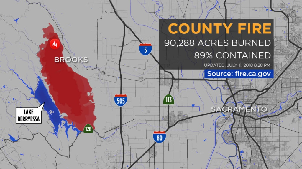Maps: A Look At The 'county Fire' Burning In Yolo, Napa Counties - 2018 California Fire Map