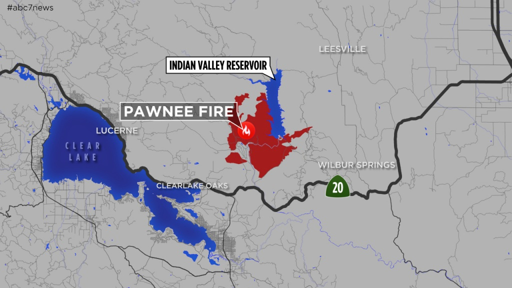 Maps: A Look At The 'pawnee Fire' Burning In Lake County Near - Abc News California Fires Map