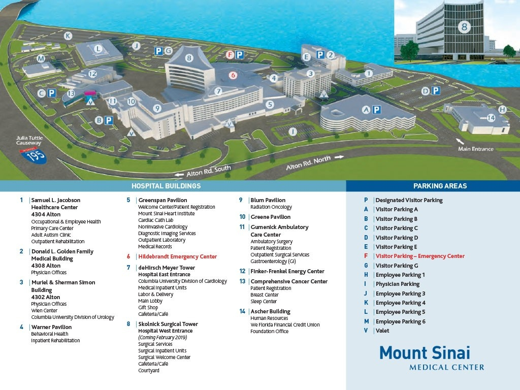 Maps & Directions - Mount Sinai Medical Center - Visitor-Info - Florida Hospital South Map