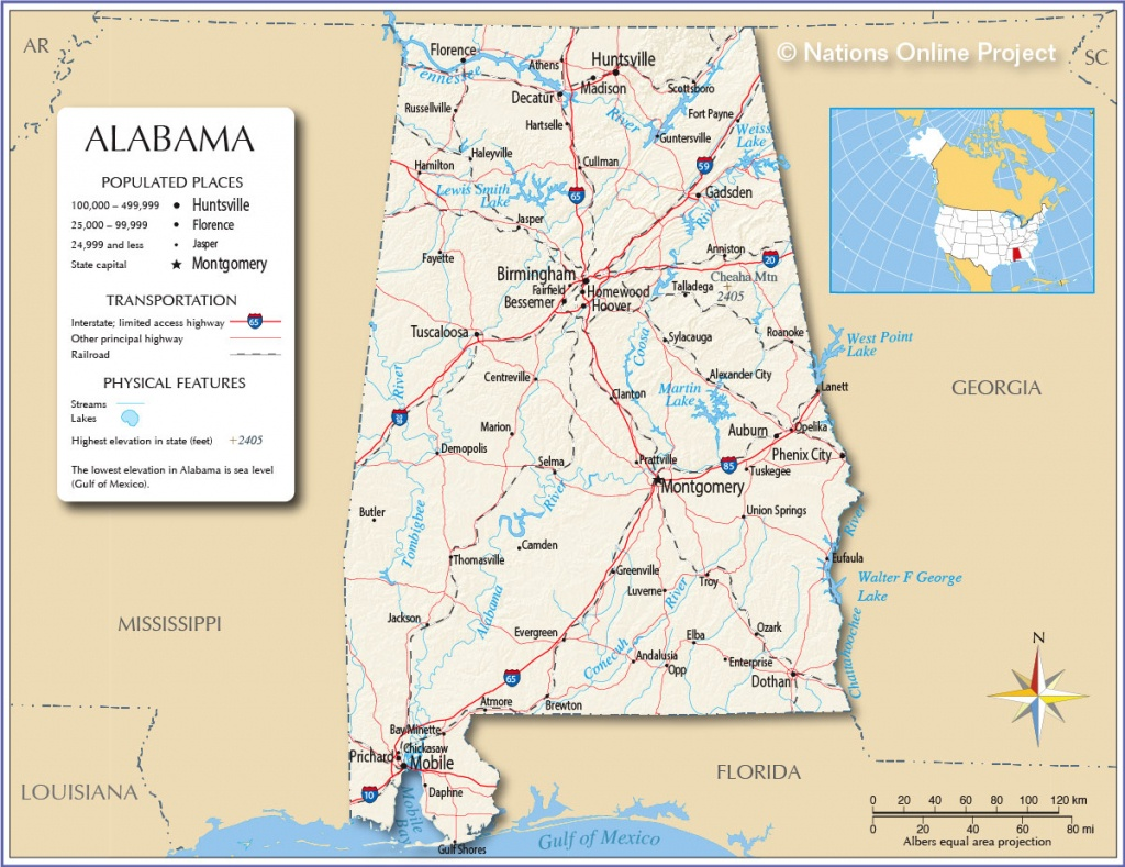 Maps Of Alabama State, Usa - Nations Online Project - Us Map Of Alabama And Florida