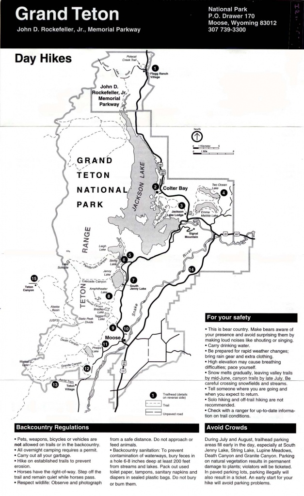 Maps Of Day Hikes Map, Grand Teton National Park, Wisconsin, United - Printable Map Of Grand Teton National Park