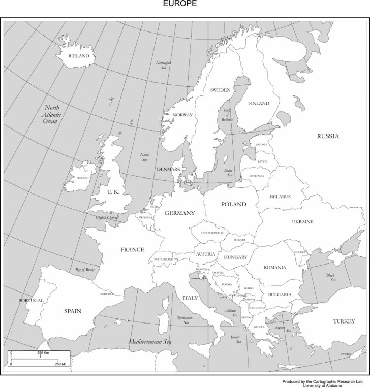 Europe Map Black And White Printable