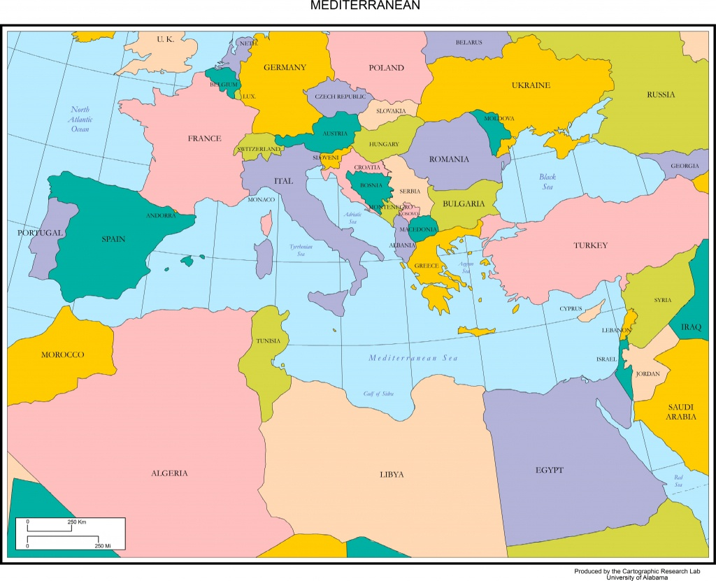 Maps Of Europe - Mediterranean Map Printable