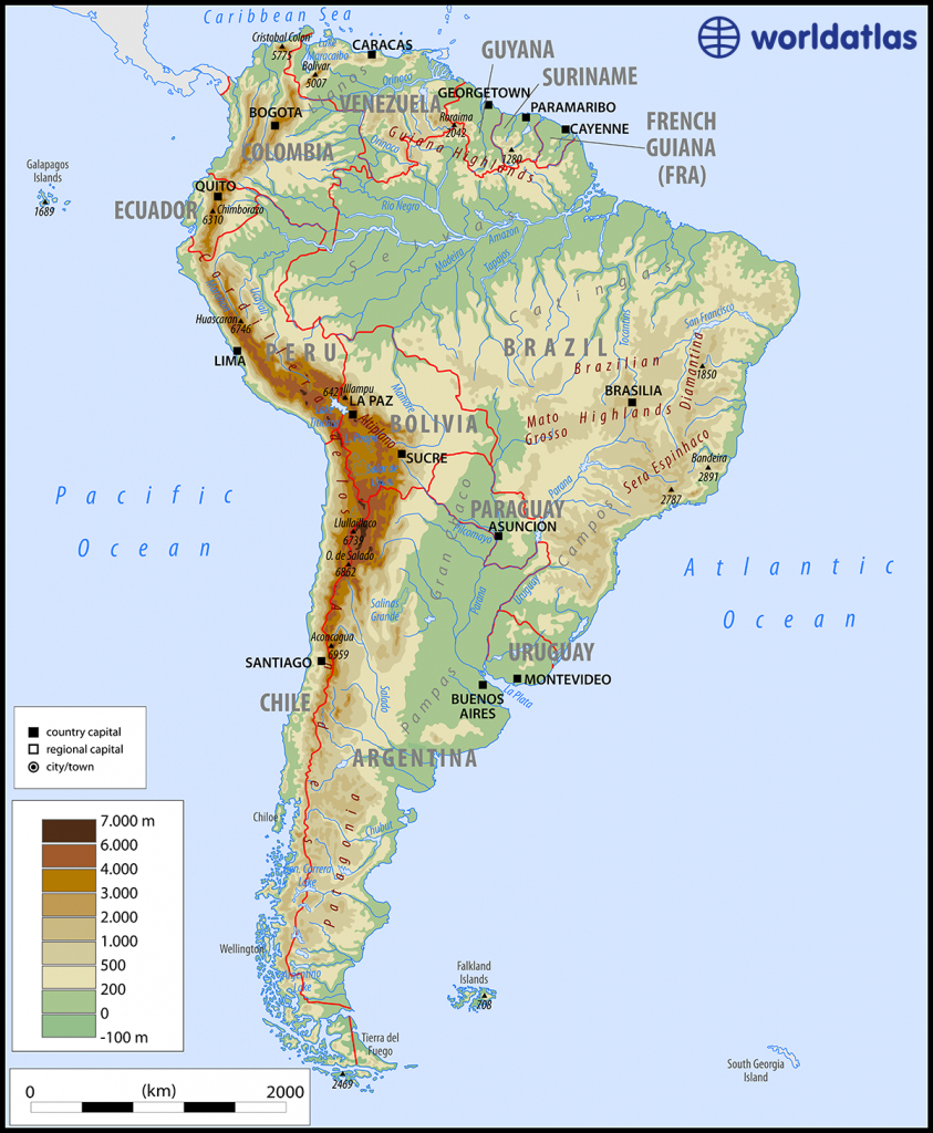 Maps Of South America - South America Physical Map Printable