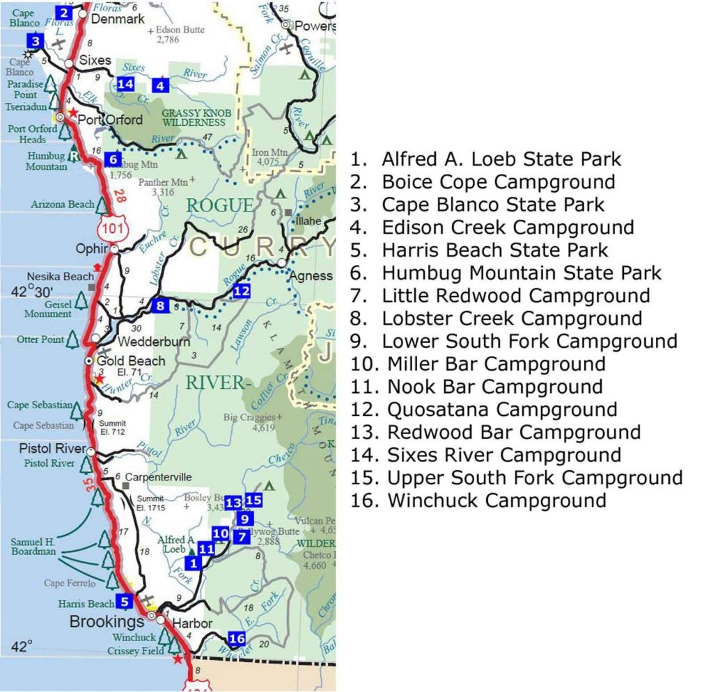 Maps. Oregon State Campgrounds Map - Diamant-Ltd - California State Campgrounds Map
