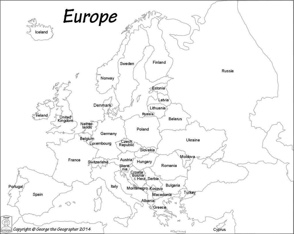 Maps. Printable Map Of Europe - Diamant-Ltd - Free Printable Map Of Europe