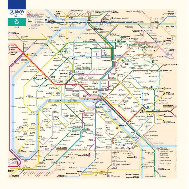 Printable Paris Metro Map