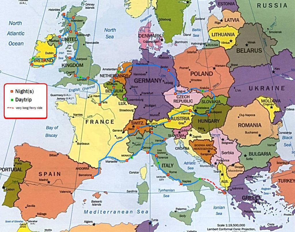 Maps. Trip Planner Map Europe - Diamant-Ltd - Europe Travel Map Printable