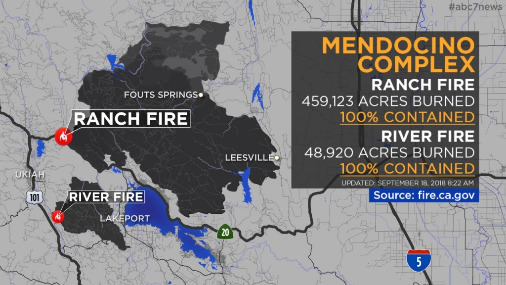 Maps: Wildfires Burning Across California   Abc7News - Map Of California Fire Damage