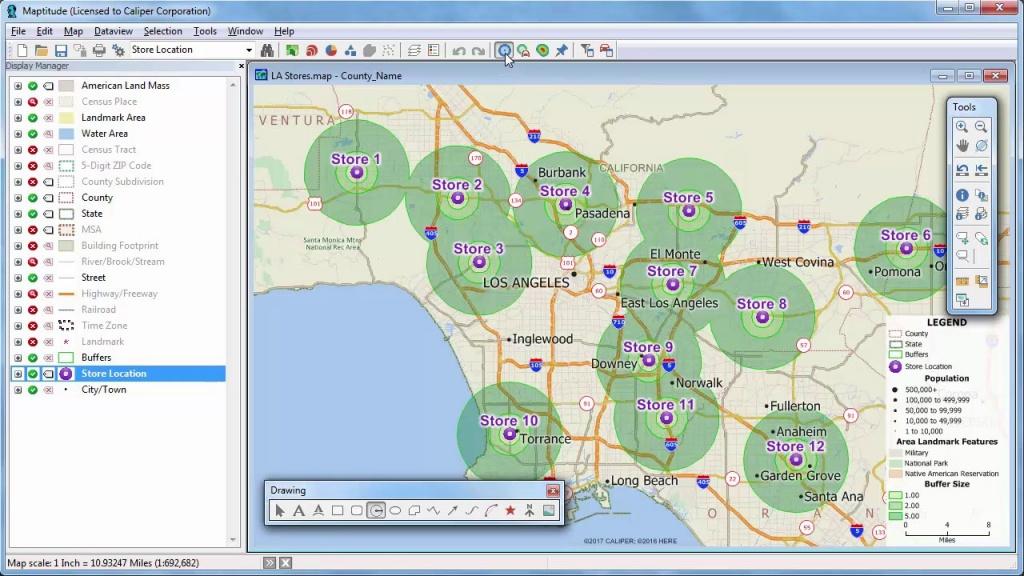 Maptitude 2018 Rings, Radius, Radii, Maps With Demographics - Printable Radius Map