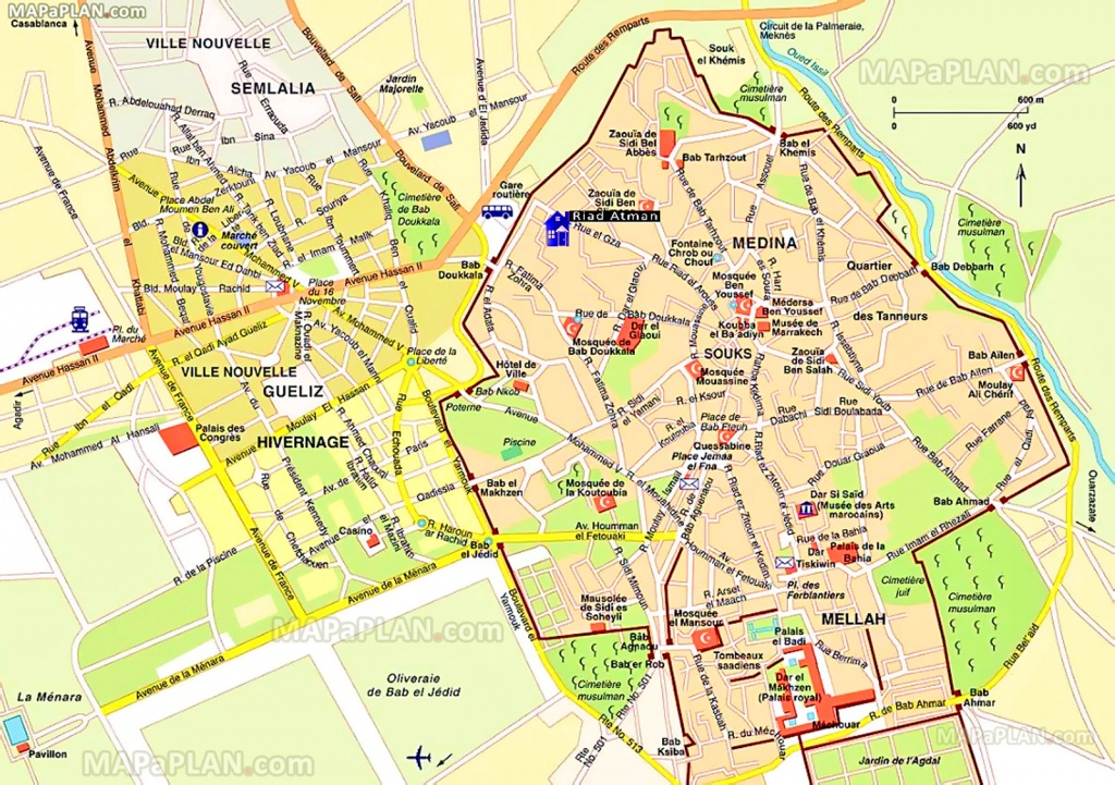 Marrakech Maps - Top Tourist Attractions - Free, Printable City - Marrakech Tourist Map Printable