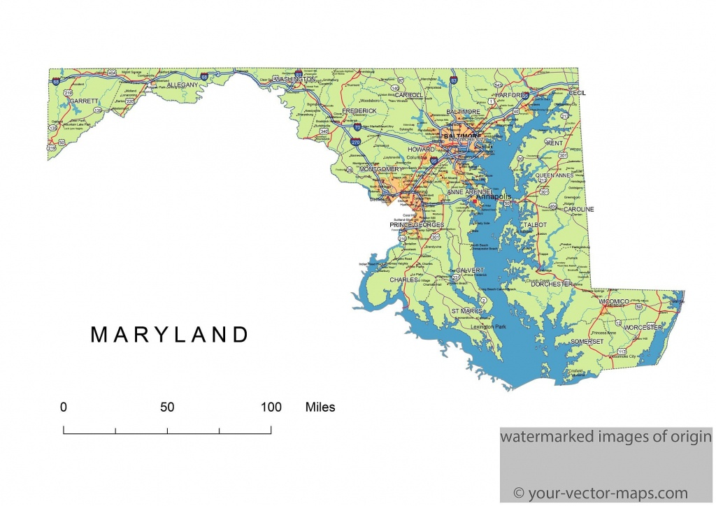 Maryland State Route Network Map. Maryland Highways Map. Cities Of - Printable Map Of Maryland