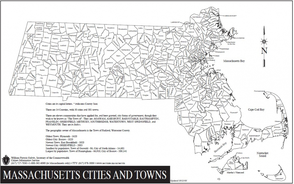 Mass Cities And Towns Map And Travel Information | Download Free - Printable Map Of Massachusetts Towns