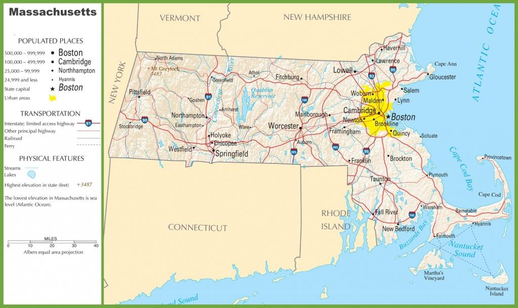 Massachusetts Highway Map - Printable Map Of Massachusetts