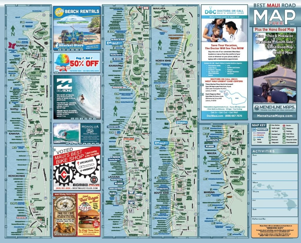 Maui Road Map   Menehune Maps - Maui Road Map Printable