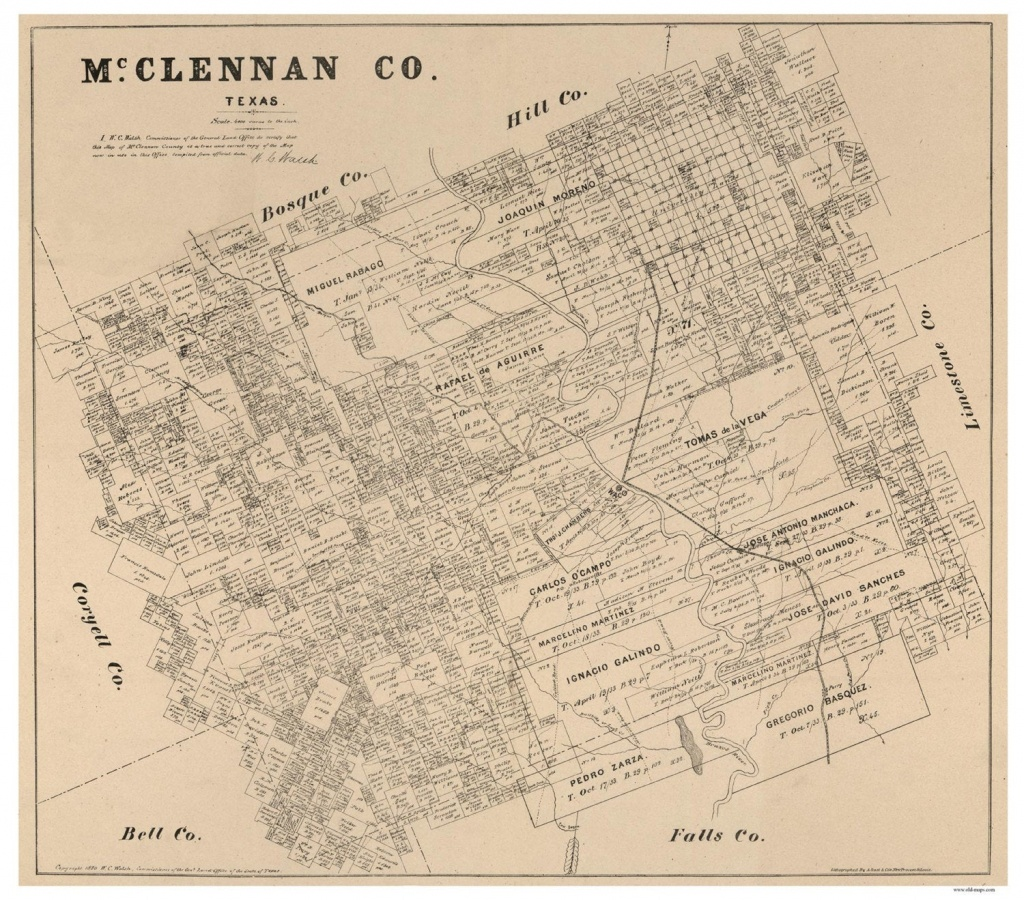 Mclennan County Texas 1880 Old Wall Map Reprint With   Etsy - Texas County Wall Map