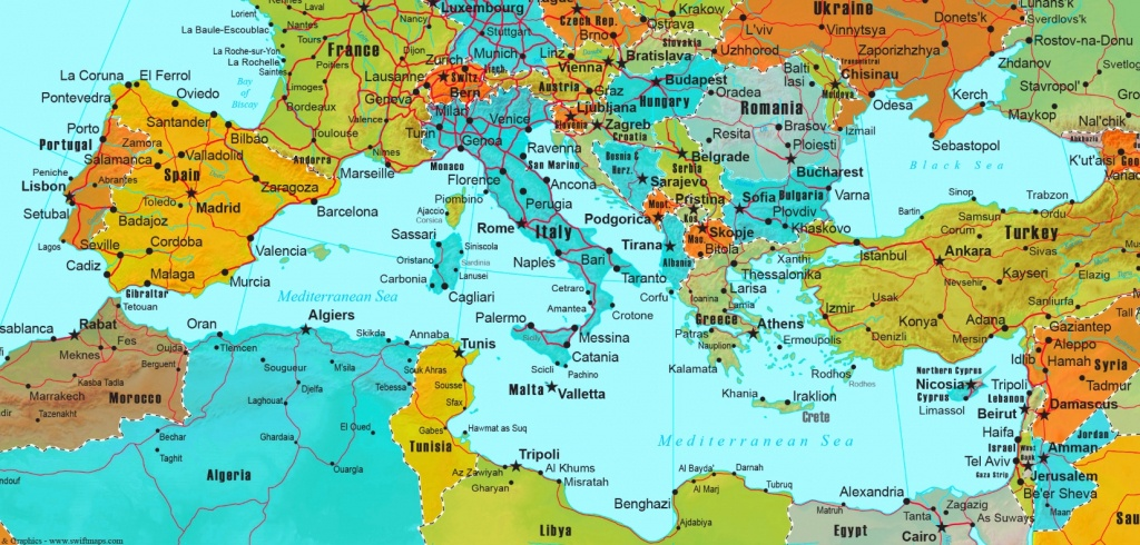 Mediterranean Countries Map - Mediterranean Map Printable