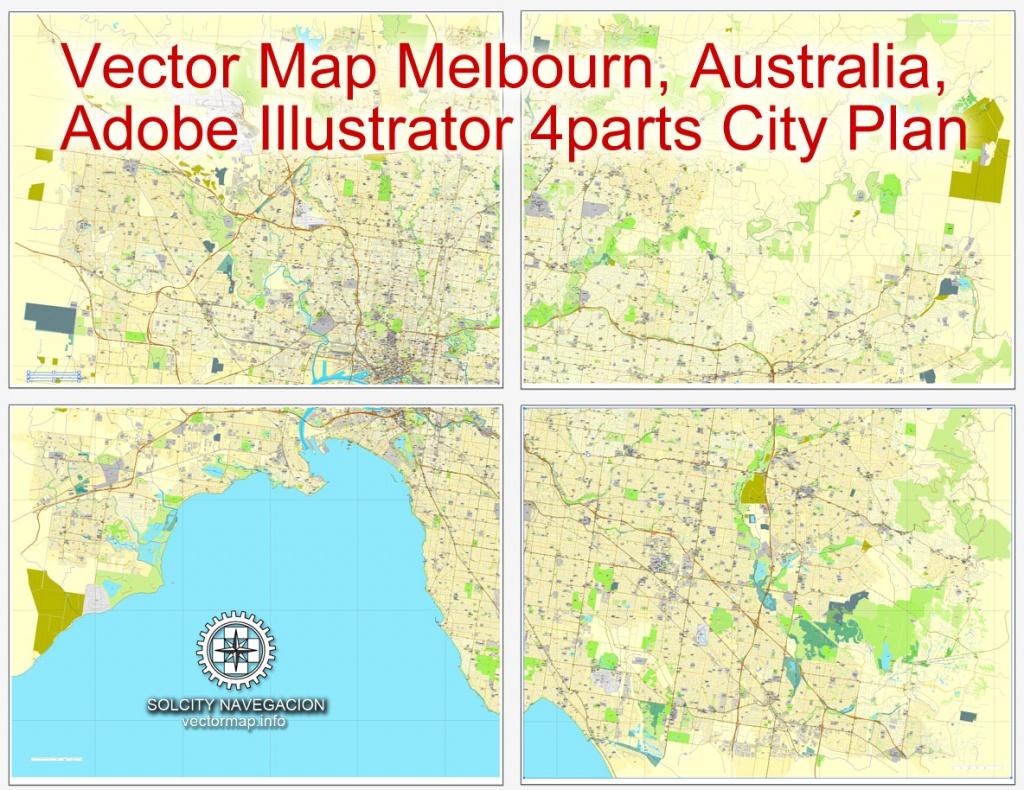 Melbourne, Australia In Adobe Illustrator, Printable Vector Street 4 Parts - Melbourne City Map Printable