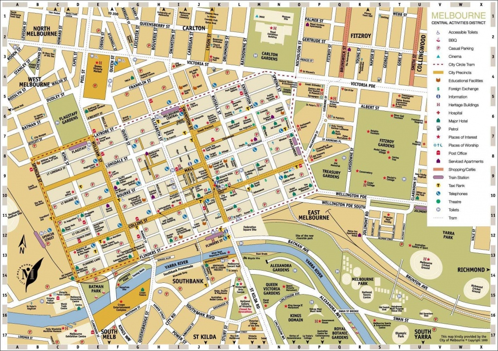 Melbourne Central District Tourist Map Australia City 3 - World Wide - Melbourne Cbd Map Printable