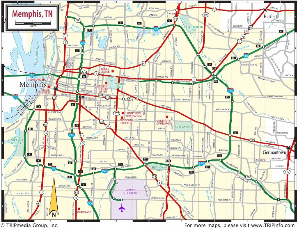Memphis Area Road Map - Memphis City Map Printable
