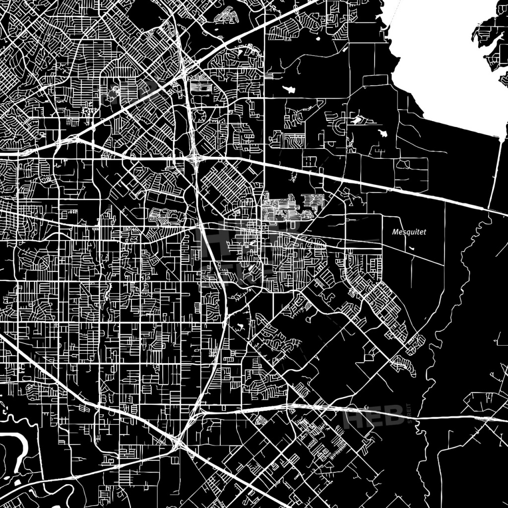 Mesquite, Texas, Downtown Map, Dark | Hebstreits Sketches - Mesquite Texas Map