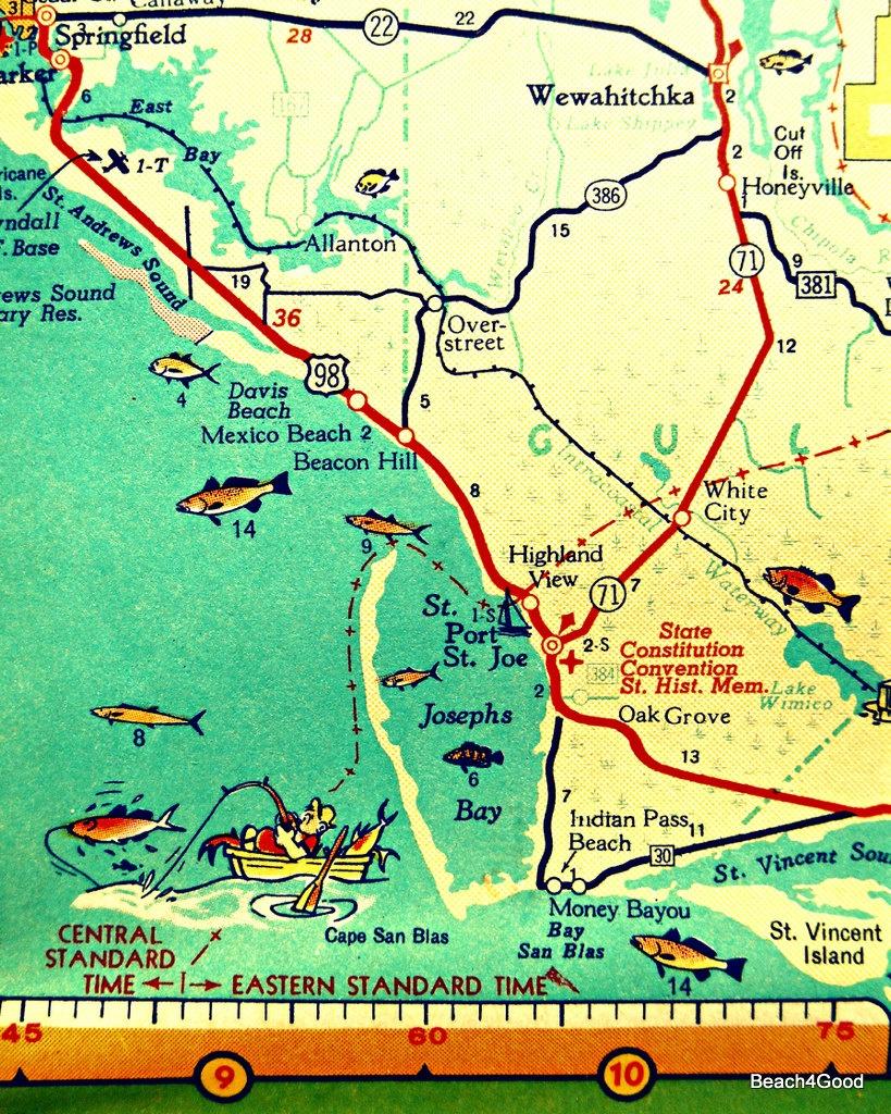 Mexico Beach Map Art Print, Florida Map Art, Port St Joe Map Art Vintage  Florida Map Artwork, Florida Wall Art, Cape San Blas Aqua Artwork - Mexico Beach Florida Map