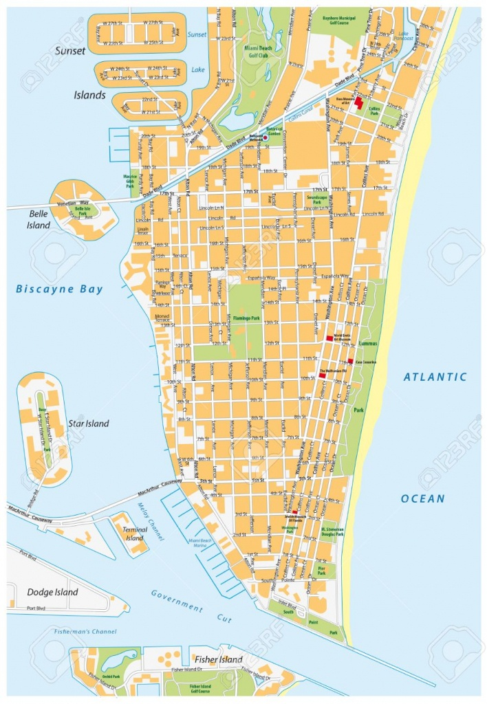 Miami Beach Detailed Vector Street Map With Names, Florida, - Street Map Of Miami Florida