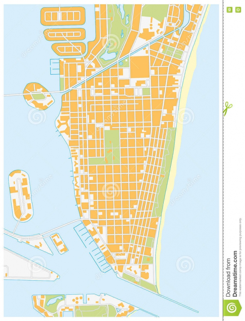 Miami-Beach Street Map, Florida Stock Illustration - Illustration Of - Map Of Miami Beach Florida