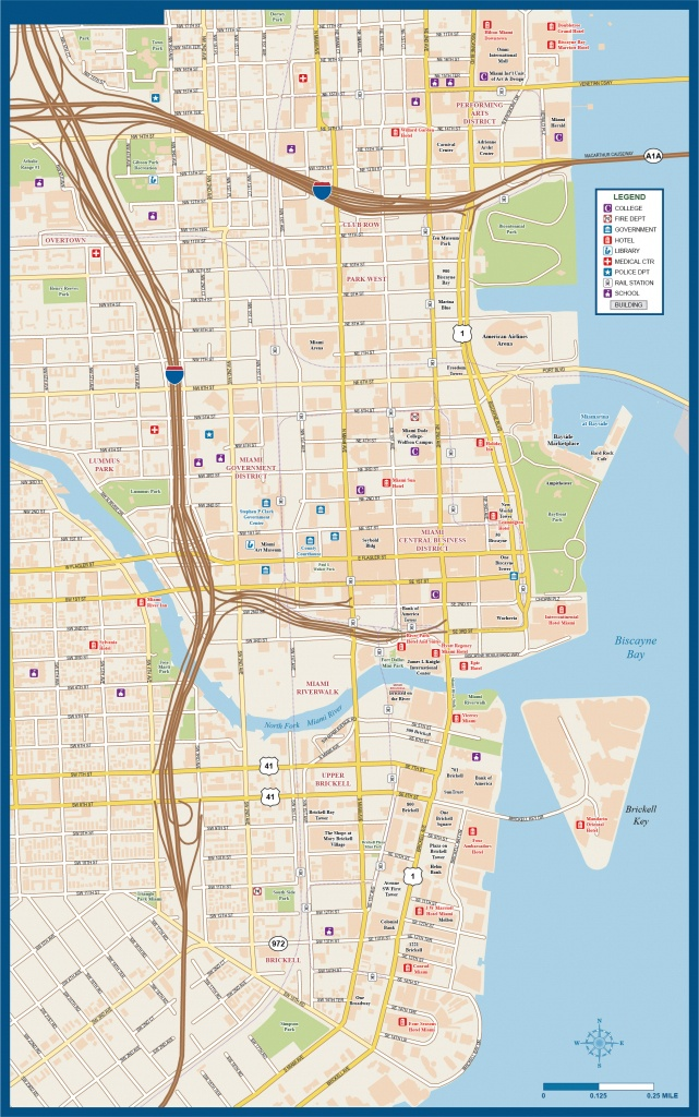 Miami Downtown Map | Digital Vector | Creative Force - Street Map Of Downtown Miami Florida