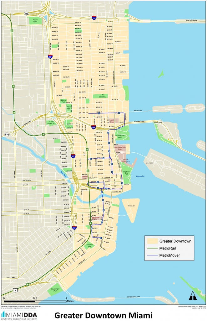 Miami Downtown Map - Street Map Of Miami Florida