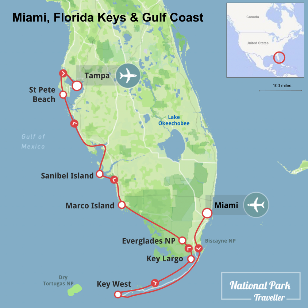 Miami, Florida Keys And Gulf Coast | National Park Traveller - Map Of Florida Gulf Coast Islands