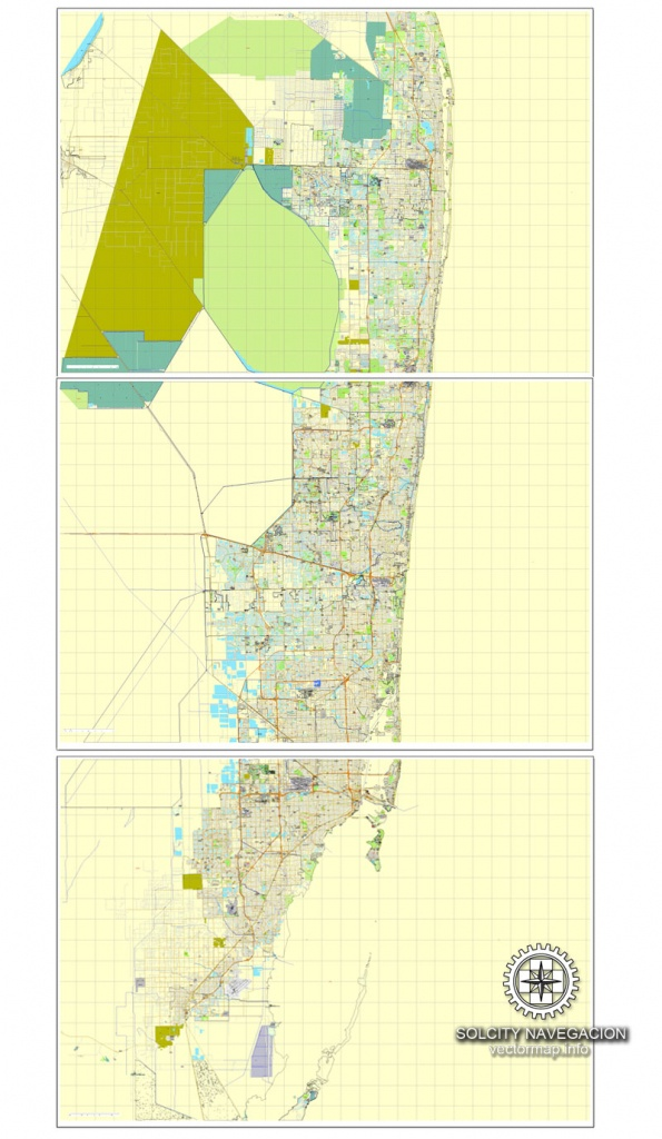 Miami, Florida, Us Printable Vector Street City Plan Map 3 Parts, Full - Miami City Map Printable