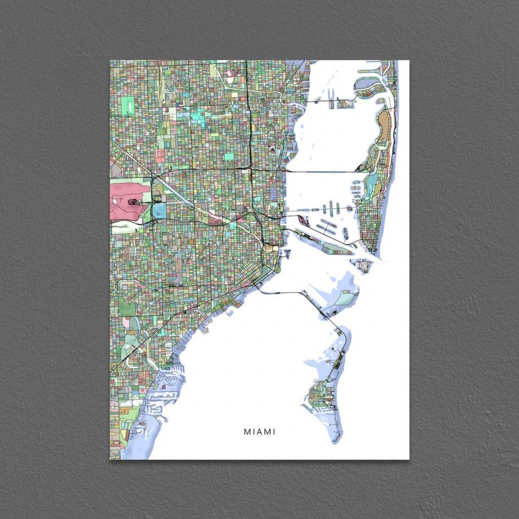 Miami Map Print Miami City Map Art Florida Colorful   Etsy - Miami City Map Printable