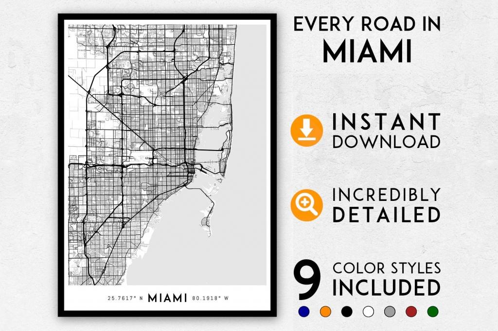Miami Map Print Miami Print Florida Map Miami City Map   Etsy - Miami City Map Printable