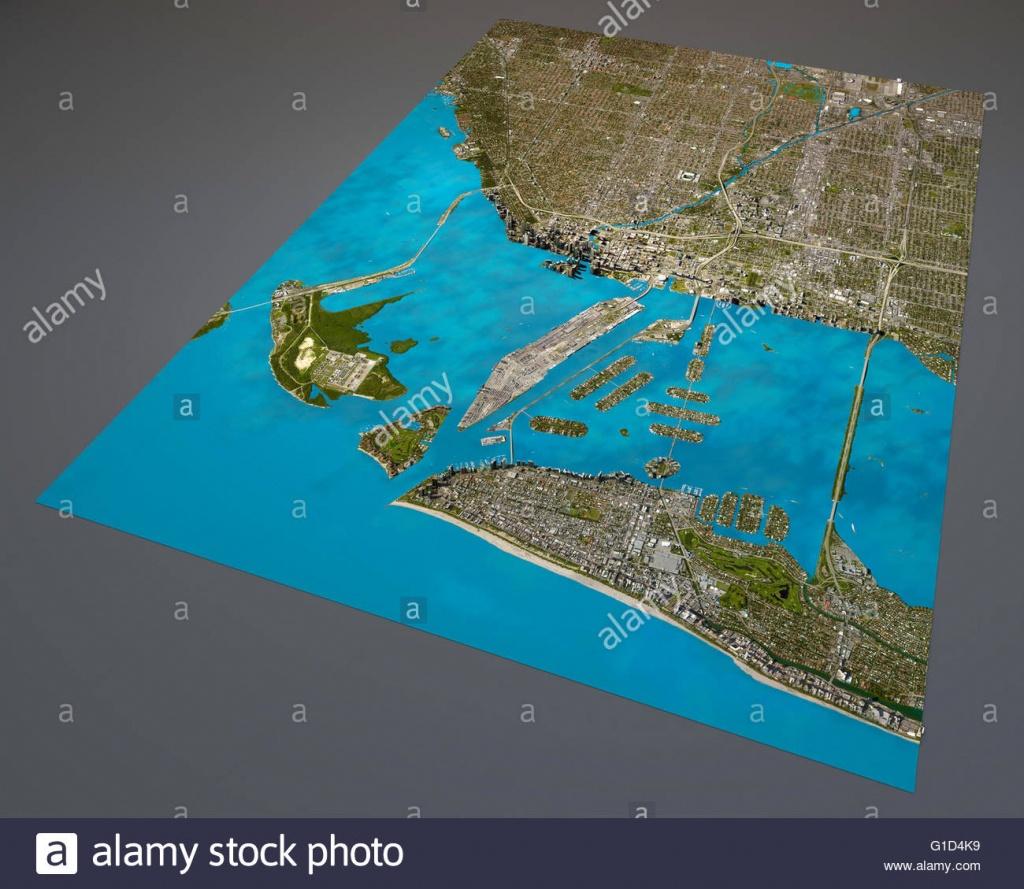 Miami Map, Satellite View, Aerial View, Florida, United States Of - Satellite Map Of Florida
