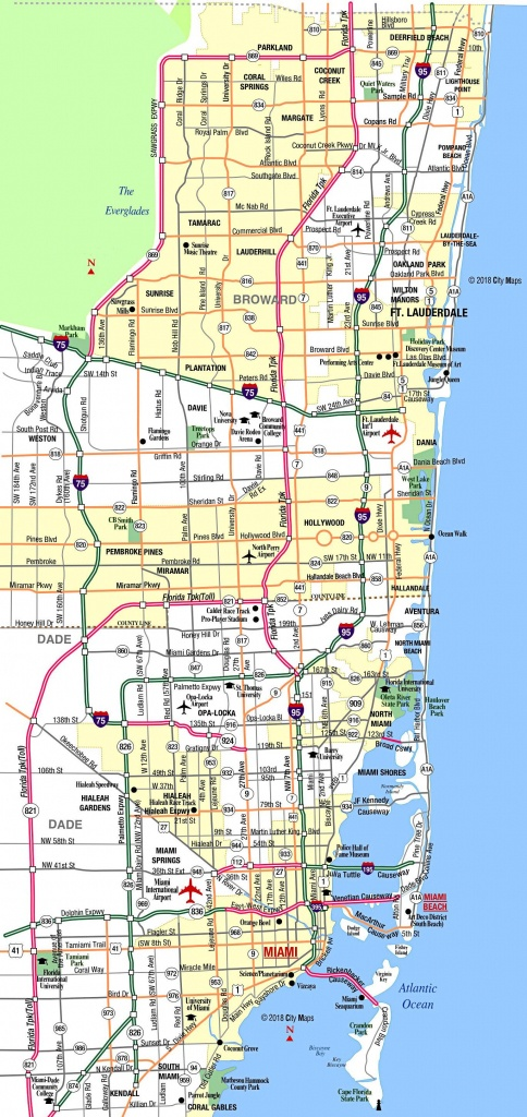 Miami Metropolitan Area Highways - Aaccessmaps - Street Map Of Miami Florida