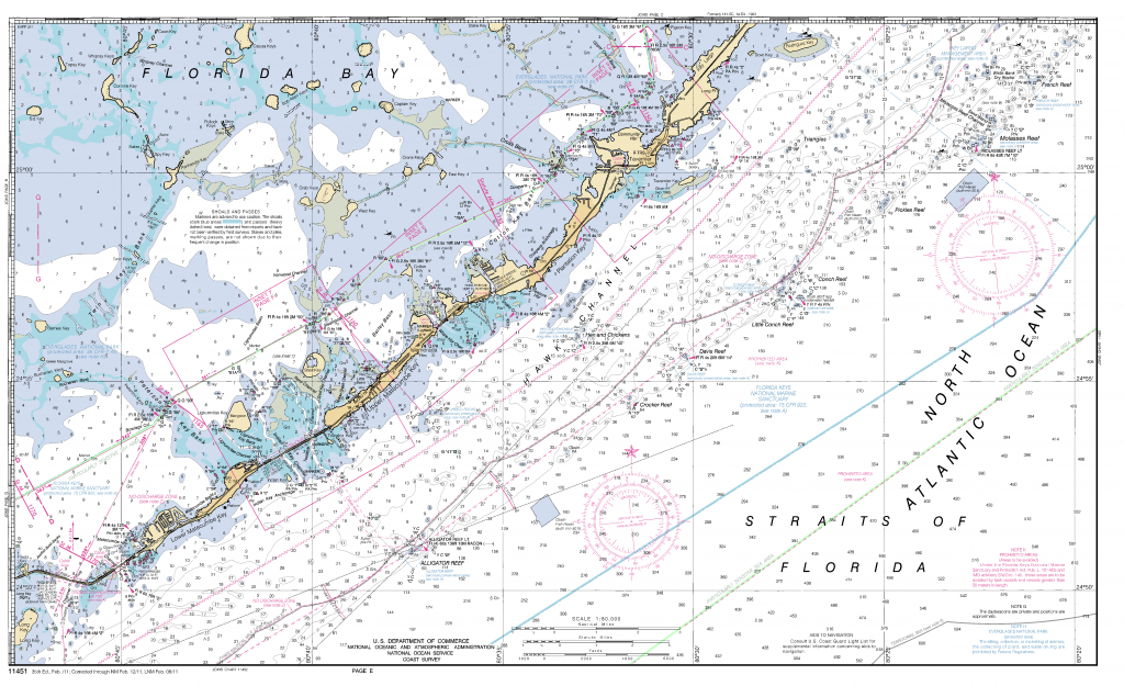 Miami To Marathon And Florida Bay Page E Nautical Chart - Νοαα - Florida Keys Nautical Map