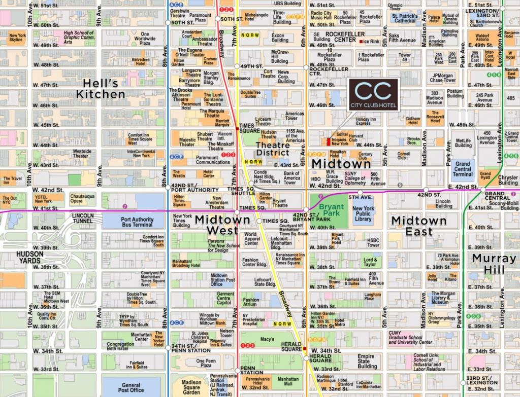 Midtown Manhattan/times Square Map | Red Paw Technologies - Map Of Midtown Manhattan Printable