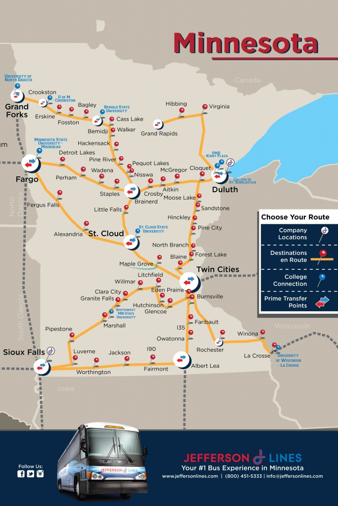 Midwest Bus Travel | Jefferson Lines Route Map - Greyhound Route Map California