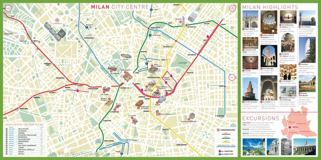 Milan Tourist Attractions Map - Printable Map Of Milan
