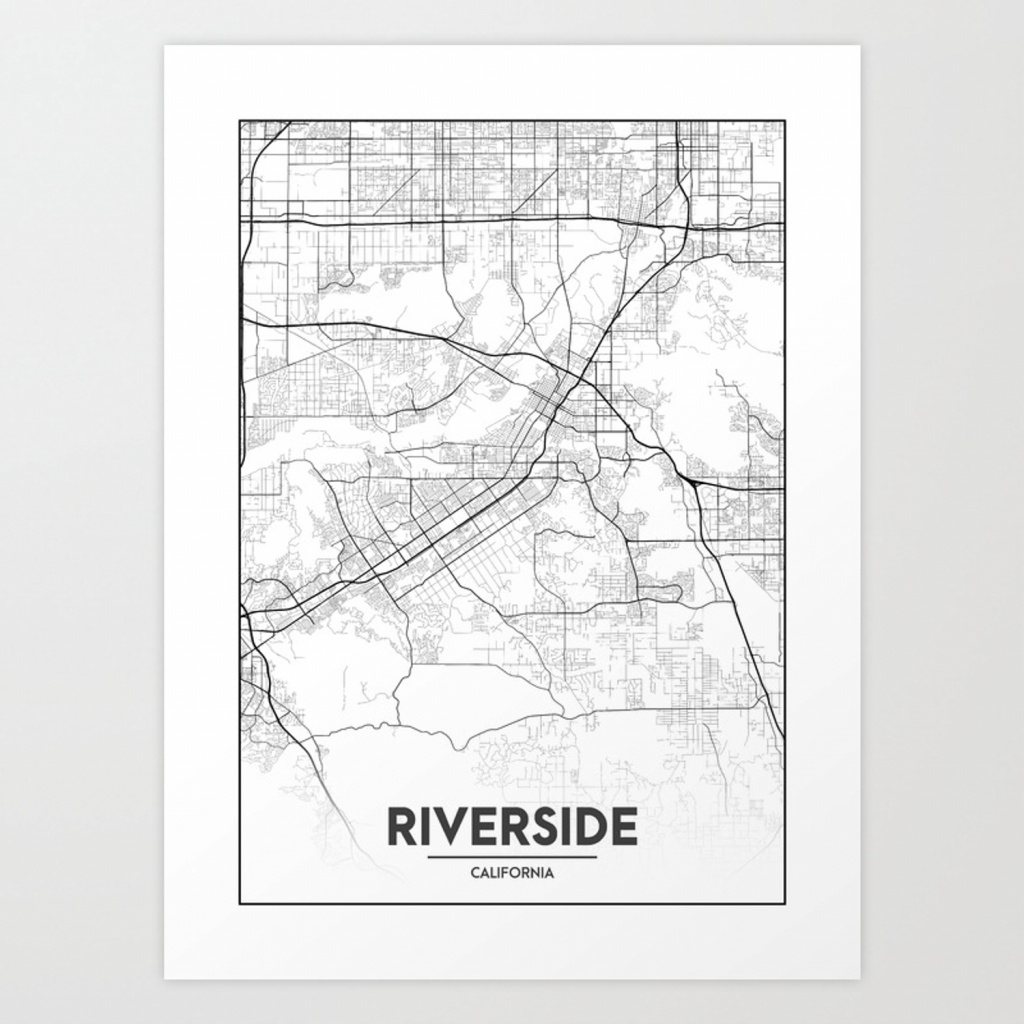 Minimal City Maps - Map Of Riverside, California, United States Art - Printable Map Of Riverside Ca