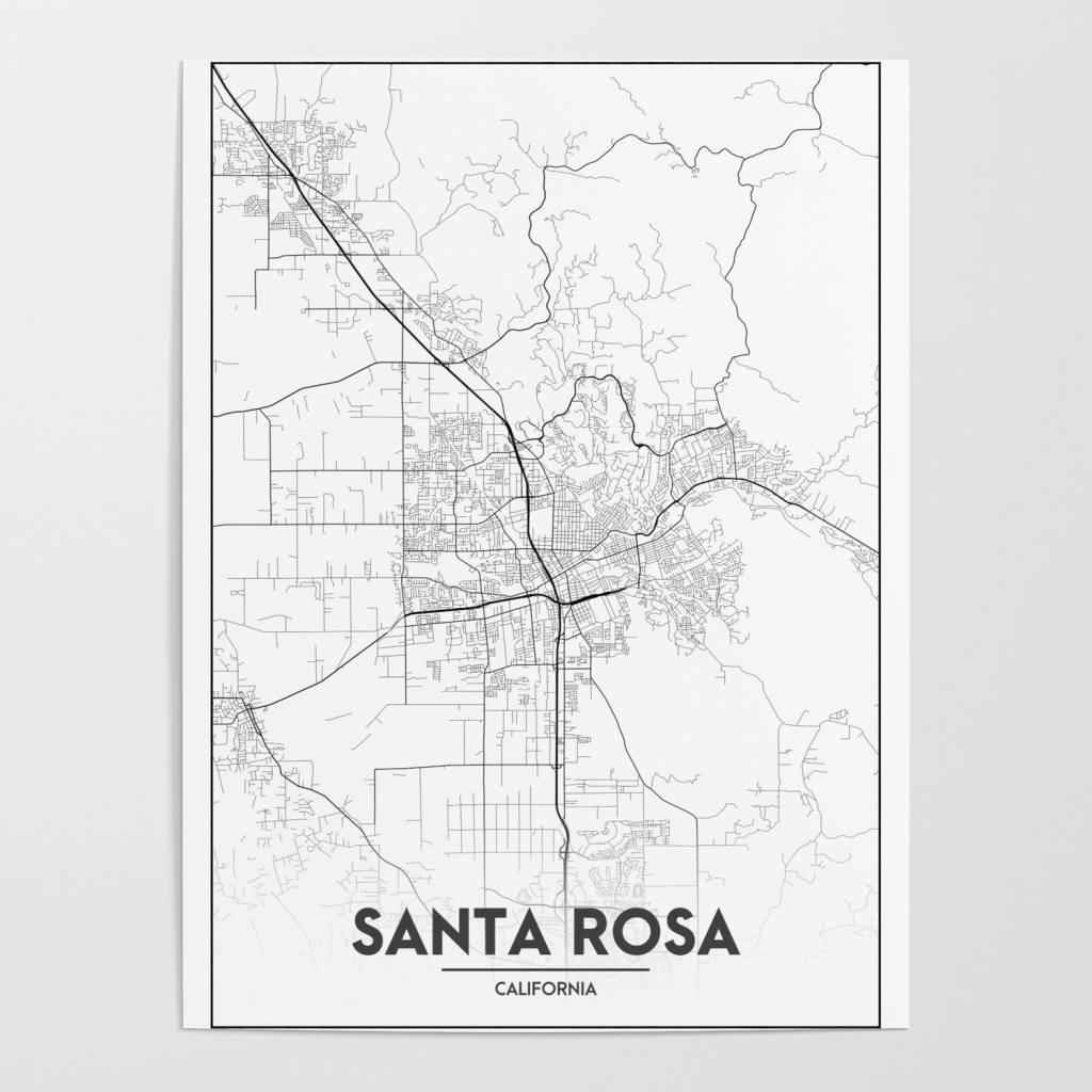 Minimal City Maps - Map Of Santa Rosa, California, United States - California Map Poster