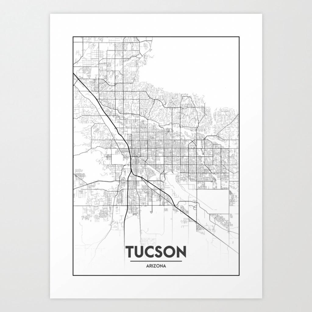 Minimal City Maps - Map Of Tucson, Arizona, United States Art Print - Printable Map Of Tucson Az