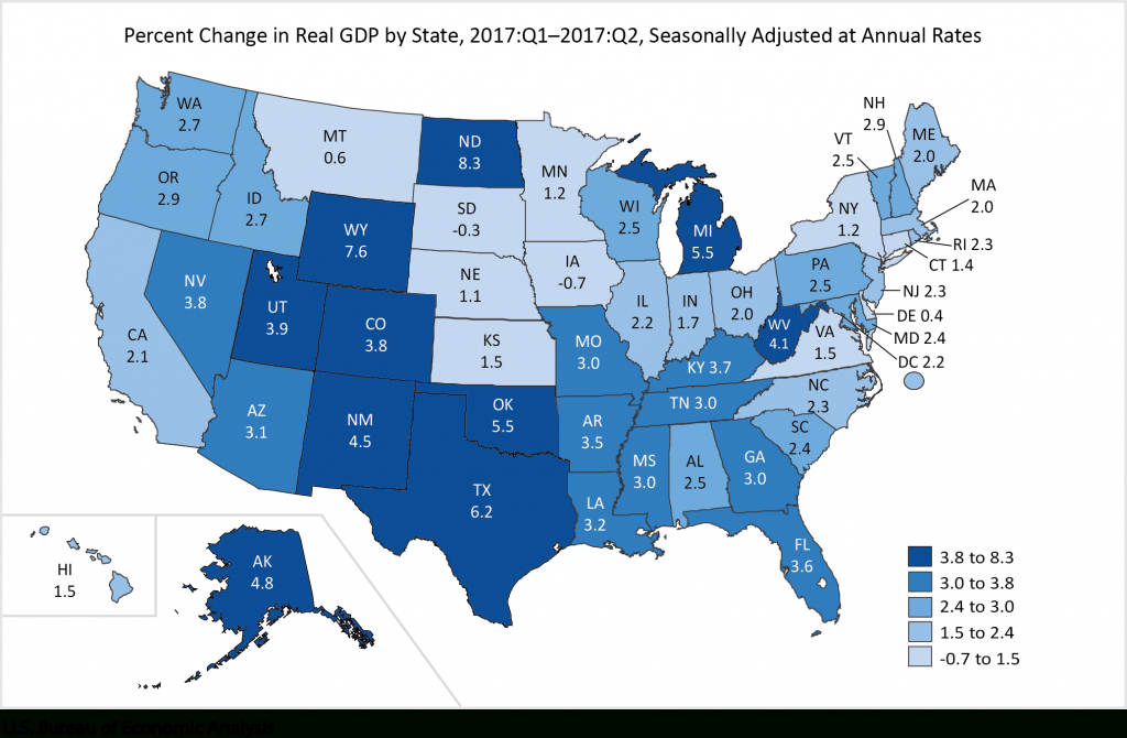 Minnesota's Economy Grew More Slowly Than 43 Other States In The - Us Quarter Map Printable