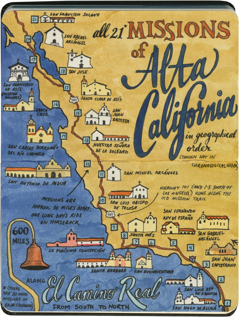 Mission: Impossible – Drawn The Road Again - California Missions Map