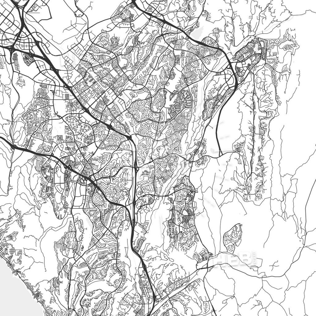 Mission Viejo, California - Area Map - Light | Hebstreits Sketches - Mission Viejo California Map