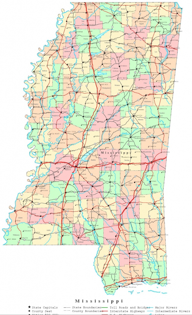 Mississippi Printable Map - Printable Map Of Mississippi