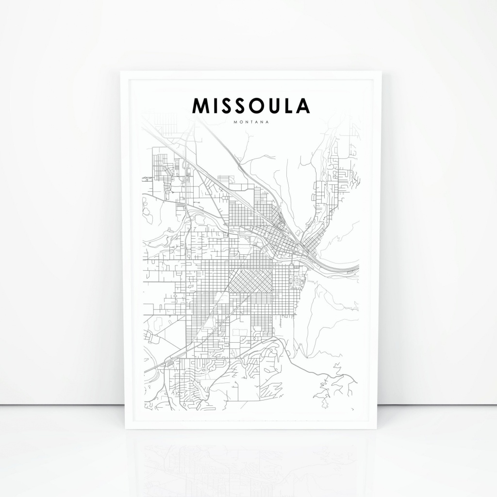 Missoula Map Print Montana Mt Usa Map Art Poster City Street | Etsy - Printable Missoula Map