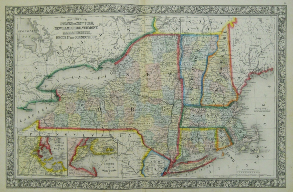 Mitchell New York And New England 1863 - Philadelphia Print Shop West - Printable Map Of New England States